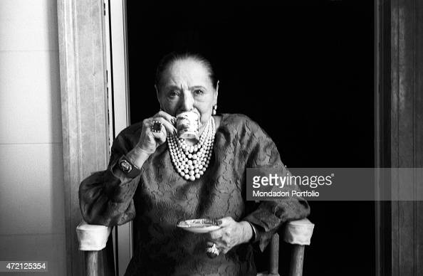 'Polish entrepreneur and founder of the cosmetic company bearing her same name Helena Rubinstein having a cup of coffee New York April 1964 '
