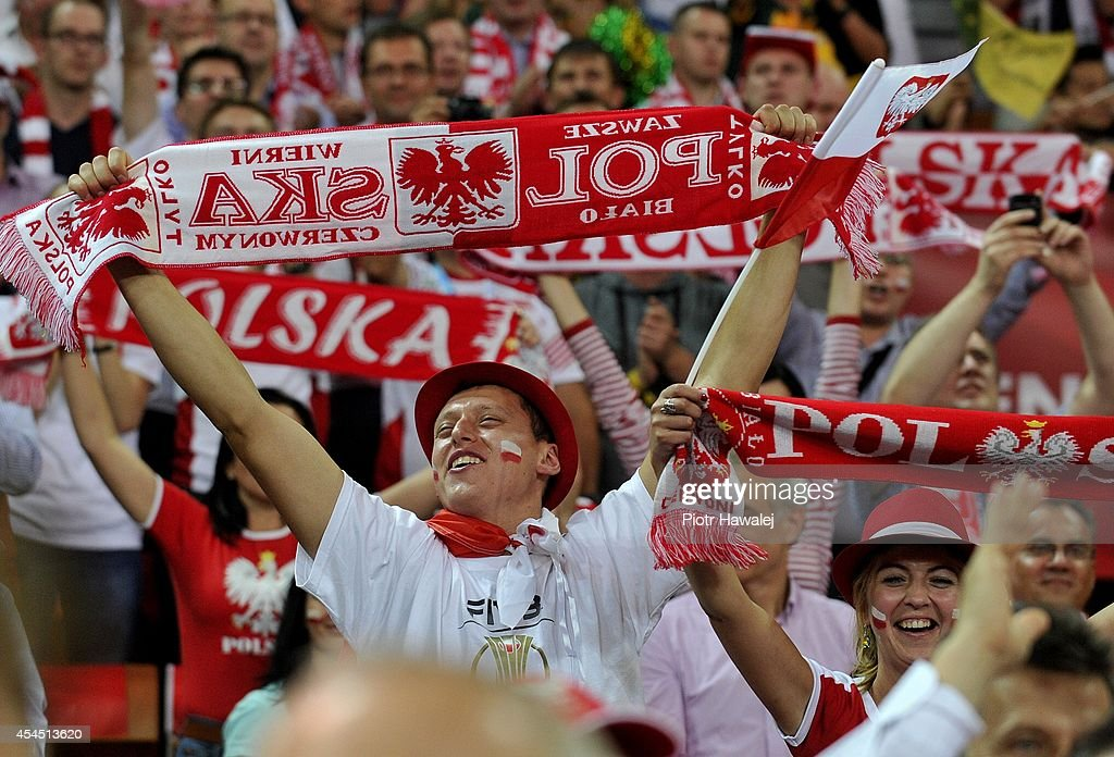 Polish fans react during the FIVB World Championships match between Australia and Poland on September 2, 2014 in Wroclaw, Poland.