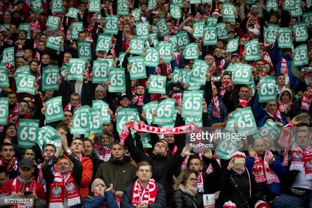 Polish fans says goodbye to goalkeeper Artur Boruc during his last game for the national team during the international friendly soccer match between...
