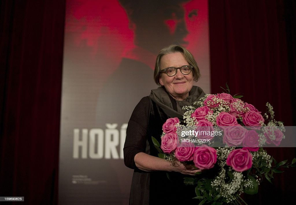 Polish film director Agnieszka Holland poses after the press conference on her new film ''Burning bush'' on January 18, 2013 in Prague. The film ''Burning bush'' is a three-part drama for HBO about Jan Palach, who immolated himself in January 1969 to protest the 'Normalization', which came after the Warsaw Pact invasion of Czechoslovakia in August 1968.