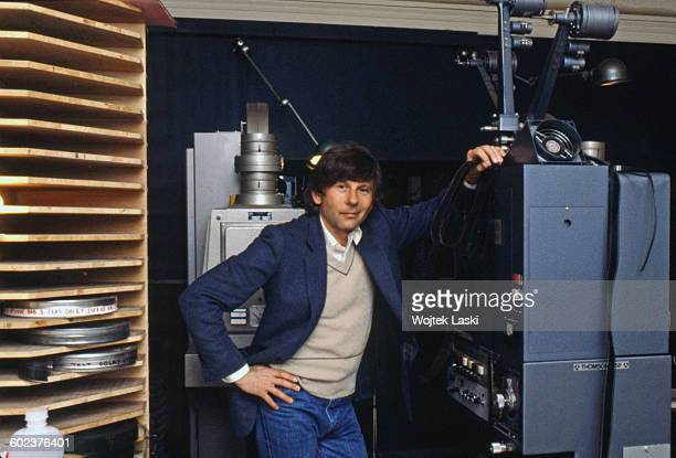 Polish film director Roman Polanski at video edting studio in Paris France in 1980