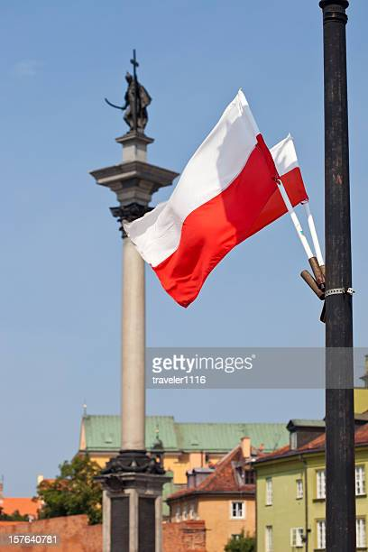 Polish Flag In Warsaw
