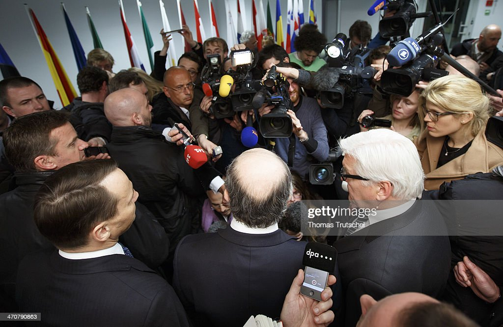 Polish Foreign Minister Radoslaw Sikorski, French Foreign Minister Laurent Fabius, and German Foreign Minister Frank-Walter Steinmeier, speaks to the media after their meeting with leaders of the Ukrainian opposition on February 20, 2014 in Kiev, Ukraine. Steinmeier and his counterparts from France and Poland met with Ukrainian President Victor Yanukovych and other government officials and held separate talks with the opposition. The three ministers will then fly to Brussels for a crisis meeting with EU foreign policy chief Catherine Ashton and other EU foreign ministers.