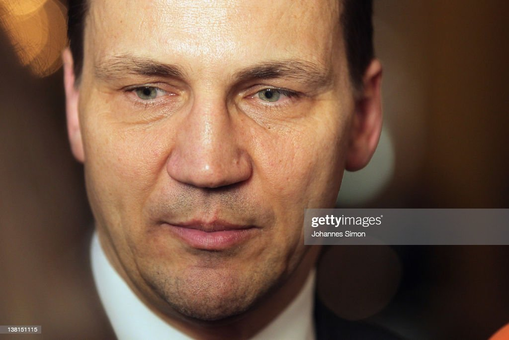 Polish Foreign Minister <a gi-track='captionPersonalityLinkClicked' href=/galleries/search?phrase=Radoslaw+Sikorski&family=editorial&specificpeople=736409 ng-click='$event.stopPropagation()'>Radoslaw Sikorski</a> ooks on during day 1of the 48th Munich Security Conference at Hotel Bayerischer Hof on February 3, 2012 in Munich, Germany. The 48th Munich conference on security policy is running till February 5, 2012.