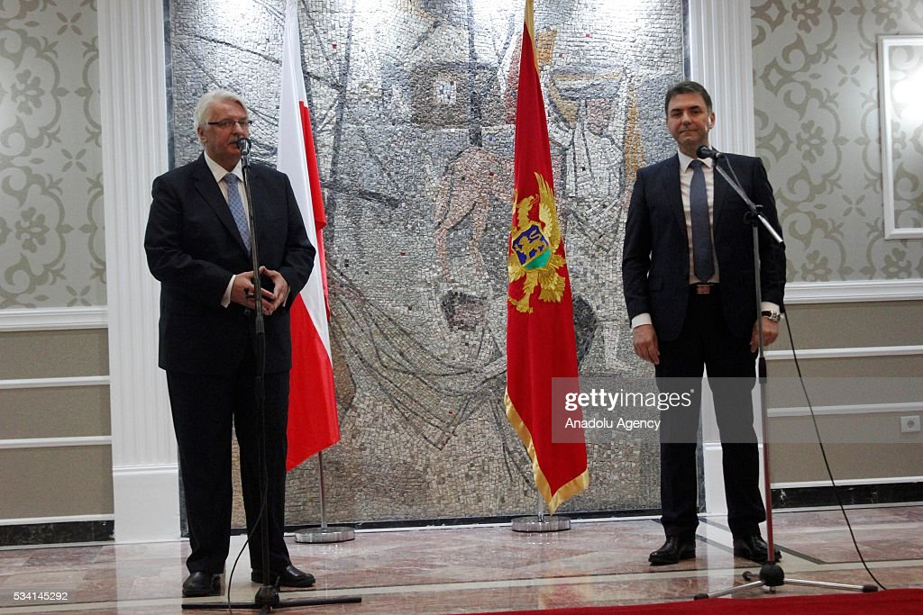 Polish Foreign Minister Witold Waszczykowski (L) and Deputy Prime Minister of Montenegro Petar Ivanovic (R) hold a joint press conference at the government building in Podgorica, Montenegro on May 25, 2016.