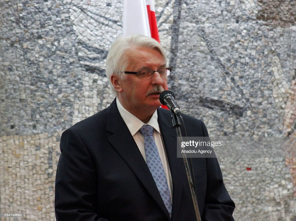 Polish Foreign Minister Witold Waszczykowski delivers a speech during a joint press conference with Deputy Prime Minister of Montenegro Petar Ivanovic (not seen) at the government building in Podgorica, Montenegro on May 25, 2016.