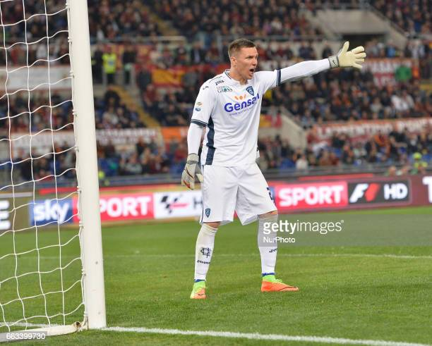 Polish goalkeeper Lukasz Skorupski of Empoli during the Italian Serie A football match between AS Roma and FC Empoli at the Olympic Stadium in Rome...