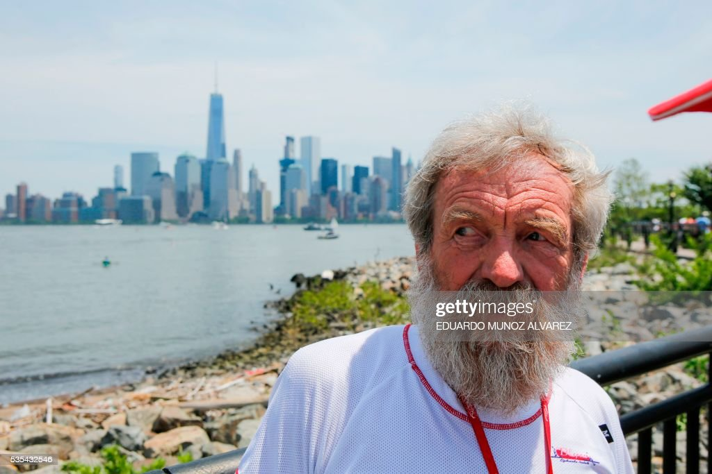 Polish kayaker Aleksander Doba looks on before the beginning of his transatlantic kayak adventure from New York to Lisbon on May 29, 2016 in New York. Doba says this will be his toughest challenge yet, but that he feels like a young man and 'will not pretend to be old.' / AFP / EDUARDO