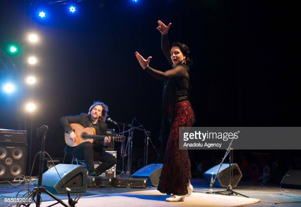 Polish Magda Navarrete performs flamenco dance during the 14th International Nomads Festival in M'Hamid El Ghizlane town of Zagora Morocco on March...