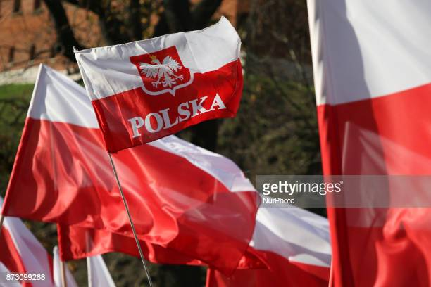 Polish march to commemorate Poland's National Independence Day in Krakow Poland on 11 November 2017