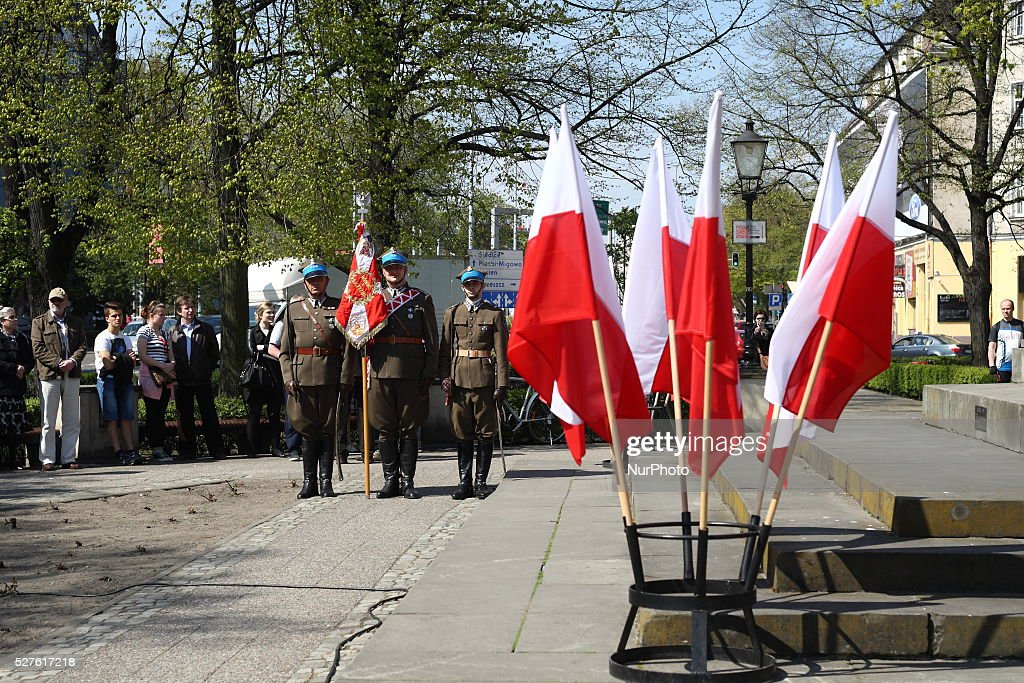Polish May 3rd Constutution Day 225 anniversary celebratet in Gdansk in front of Jan III Sobieski monument, on May 3, 2016, in Gdnask, Poland. The holiday celebrates the declaration of the Constitution of May 3, 1791 - the first constitution in Europe and 2nd in the World.
