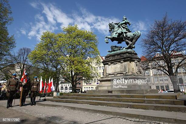 Polish May 3rd Constutution Day 225 anniversary celebratet in Gdansk in front of Jan III Sobieski monument on May 3 in Gdnask Poland The holiday...
