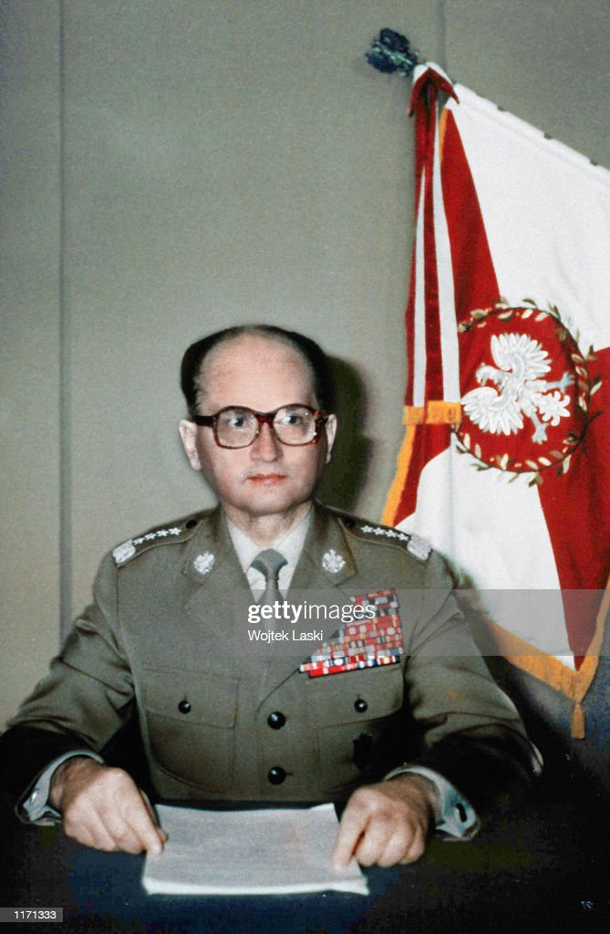 Polish Minister of Defense, <a gi-track='captionPersonalityLinkClicked' href=/galleries/search?phrase=Wojciech+Jaruzelski&family=editorial&specificpeople=206791 ng-click='$event.stopPropagation()'>Wojciech Jaruzelski</a>, declares martial law December 13, 1981 during a tv announcement in Poland. Jaruzelski has been charged with the deaths of 44 protesters in 1970 in the city of Gdansk October 18, 2001 in Warsaw, Poland. Jaruzelski read an 81-page statement declaring that he is not directly responsible for the orders given to shoot at protesters and that the Army soldiers acted in self defense against aggressive protesters.