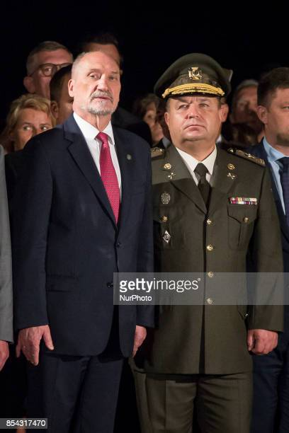 Polish minister of national defence Antoni Macierewicz and Minister of Defence of Ukraine Stepan Poltorak in Warsaw Poland on 14 August 2017