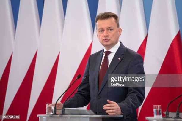 Polish Minister of the Interior and Administration Mariusz Blaszczak during the press conference about ransomware Petya cyberattack in Poland at...