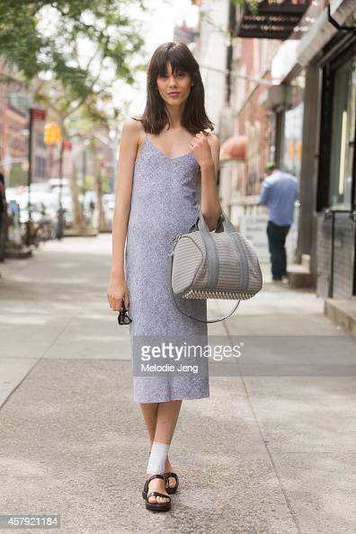 Polish model Ewa Wladymiruk exits the Rodarte show in Alexander Wang on Day 6 of New York Fashion Week Spring/Summer 2015 on September 9 2014 in...