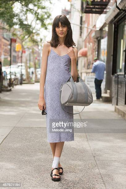 Polish model Ewa Wladymiruk exits the Rodarte show in Alexander Wang on Day 6 of New York Fashion Week Spring/Summer 2015 on September 9 2014 in...