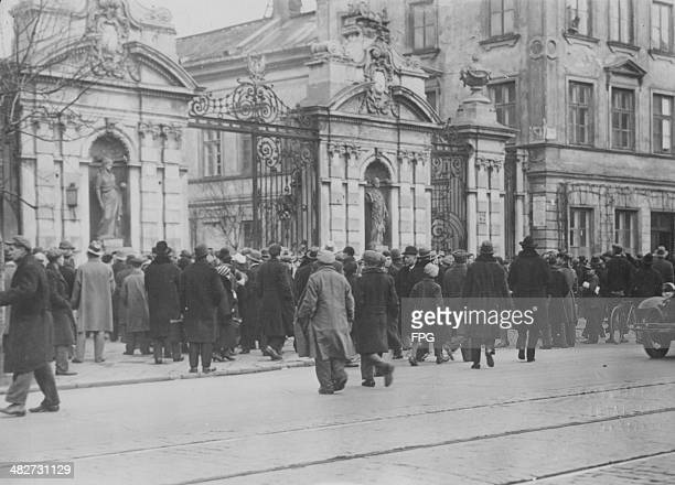 Polish nationalist students taking part in a university antiJewish demonstration during World War Two Poland circa 19391945