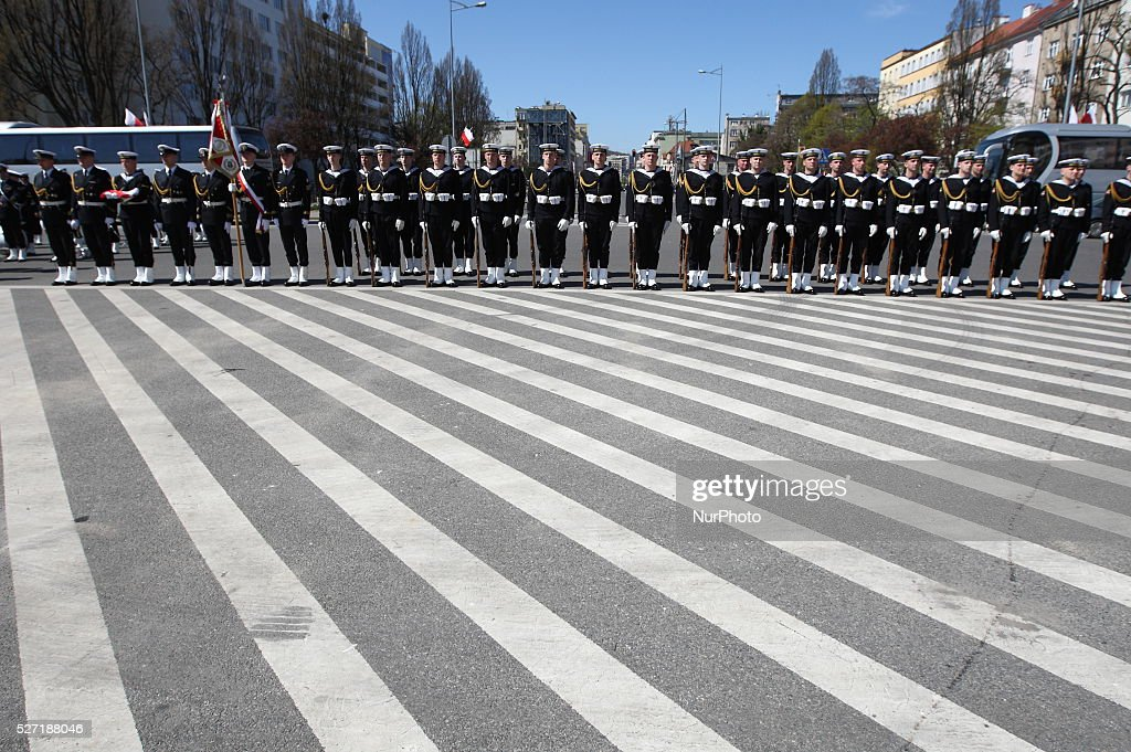 Polish Navy soldiers celebrate Flags Day in Gdynia on Kosciuszko Square, in Gdynia, Poland, on May 2, 2016. The ceremony honors Polish national flag and national colors: white and red, in Gdynia, Poland, on May 2, 2016.