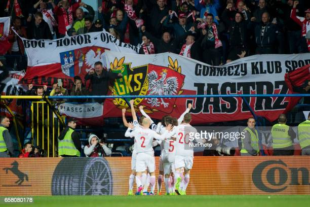 Polish players celebrate after Robert Lewandowski goal during the FIFA World Cup 2018 Qualifying Round Group E match between Montenegro and Poland at...