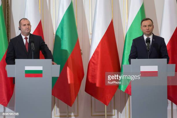 Polish President Andrzej Duda and Bulgarian President Rumen Radev speak at a press conference after their meeting in the Belvedere Palace in Warsaw...