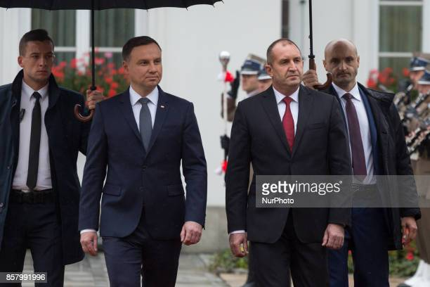 Polish President Andrzej Duda and Bulgarian President Rumen Radev attend the official welcome ceremony in the courtyard of the Belvedere Palace in...