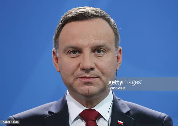 Polish President Andrzej Duda and German Chancellor Angela Merkel give statements to the media prior to talks at the Chancellery on June 17 2016 in...