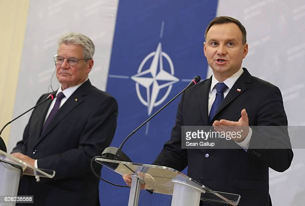 Polish President Andrzej Duda and German President Joachim Gauck speak to the media while visiting the NATO Multinational Corps Northeast...