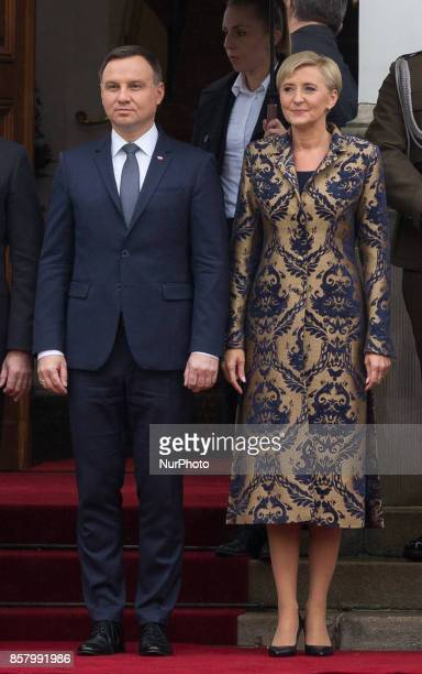 Polish President Andrzej Duda and his wife Agata DudaKornhauser in the courtyard of the Belvedere Palace in Warsaw Poland on 5 October 2017