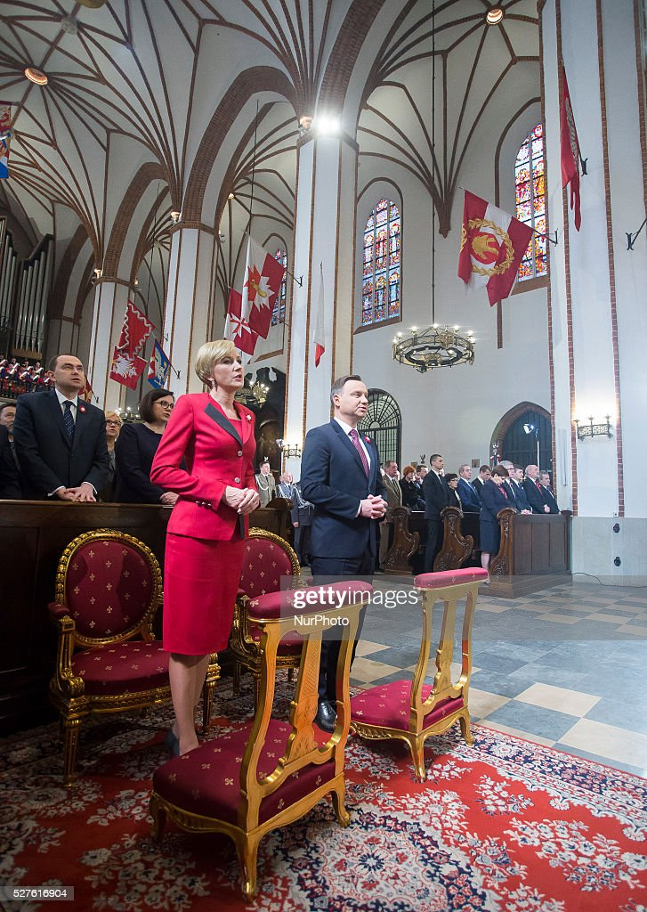 Polish president Andrzej Duda and his wife Agata Kornhauser-Duda in the church to celebrate the national holiday of the Constitution 3 May in Poland, 03 May, 2016, Warsaw