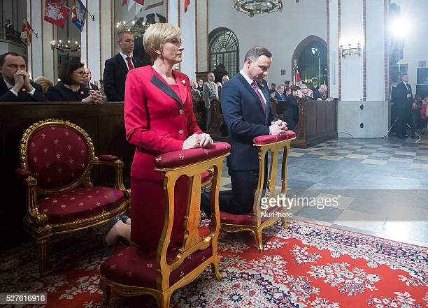 Polish president Andrzej Duda and his wife Agata KornhauserDuda in the church to celebrate the national holiday of the Constitution 3 May in Poland...