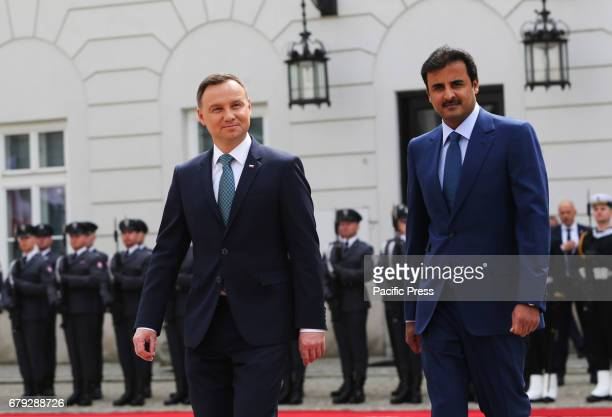 Polish President Andrzej Duda and the Emir of Qatar Sheikh Tamim bin Hamad Al Thani meet during the Emir's official visit to Poland on May 05 2017...