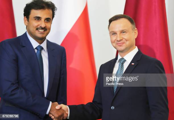 Polish President Andrzej Duda and the Emir of Qatar Sheikh Tamim bin Hamad Al Thani held a joint press conference during the Emir's official visit to...