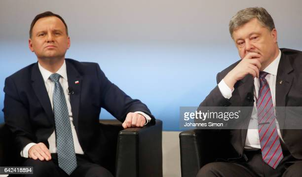 Polish president Andrzej Duda and Ukrainian president Petro Poroshenko look on at the 2017 Munich Security Conference on February 17 2017 in Munich...