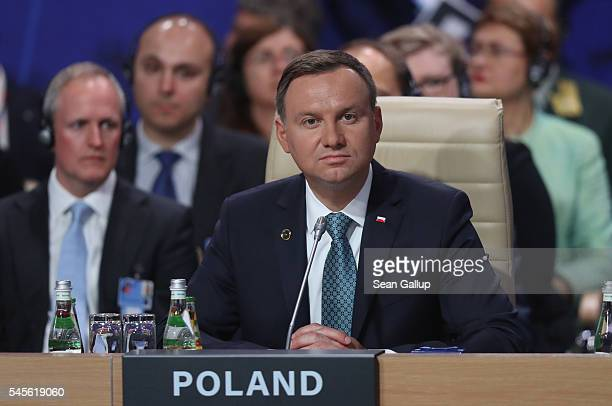 Polish President Andrzej Duda attends the meeting of the North Atlantic Council at the Warsaw NATO Summit on July 8 2016 in Warsaw Poland NATO member...