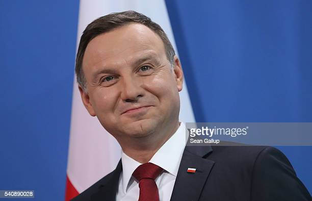 Polish President Andrzej Duda departs after givinge statements with German Chancellor Angela Merkel to the media prior to talks at the Chancellery on...