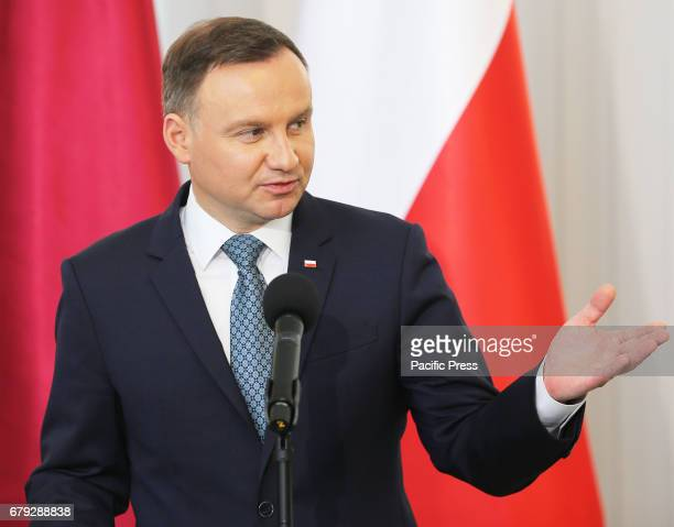 Polish President Andrzej Duda in a joint press conference during the Emir's official visit to Poland on May 05 2017 The Emir was welcomed by...