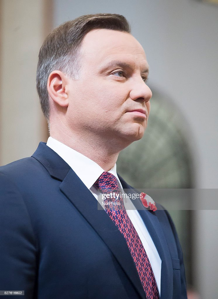 Polish president Andrzej Duda in the church to celebrate the national holiday of the Constitution 3 May in Poland, 03 May, 2016, Warsaw