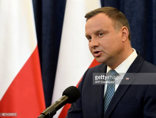 Polish President Andrzej Duda makes a statement to announce that he will veto controversial judicial reforms in Warsaw on July 24 2017 The planned...