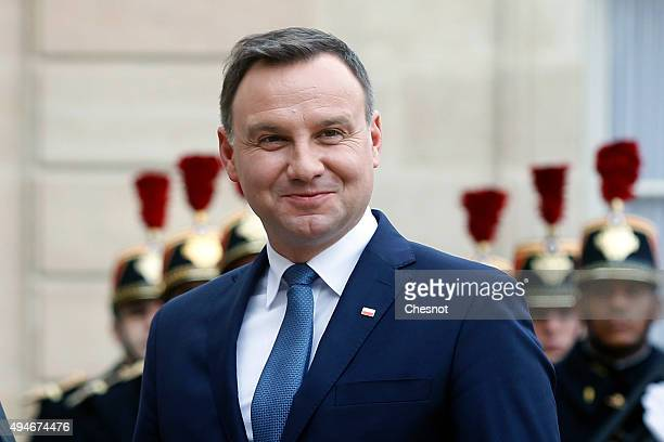 Polish President Andrzej Duda poses prior to a meeting with French President Francois Hollande at the Elysee Presidential Palace on October 28 2015...