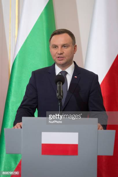 Polish President Andrzej Duda speak at a press conference after meeting with Bulgarian President Rumen Radev in the Belvedere Palace in Warsaw Poland...