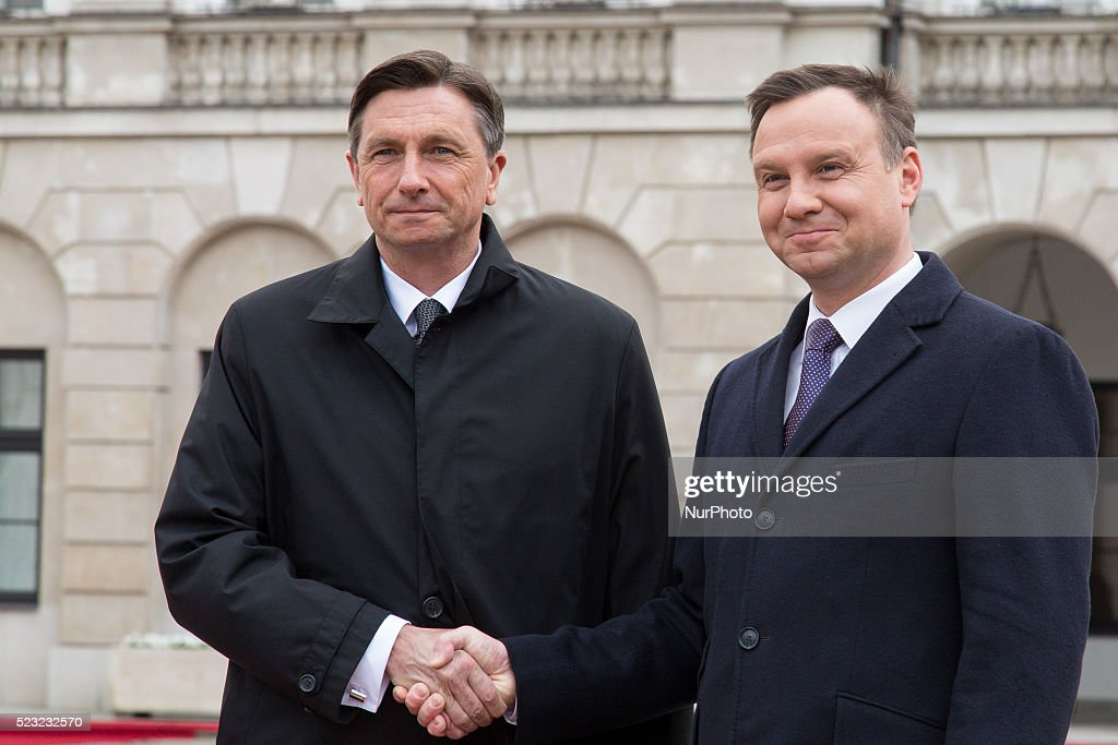 Polish President Andrzej Duda welcomed President of Slovenia Borut Pahor at Presidential Palace in Warsaw Poland 22 April 2016