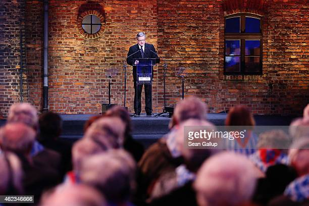 Polish President Bronislaw Komorowski gives a speech during the commemoration of the 70th anniversary of the liberation of Auschwitz concentration...
