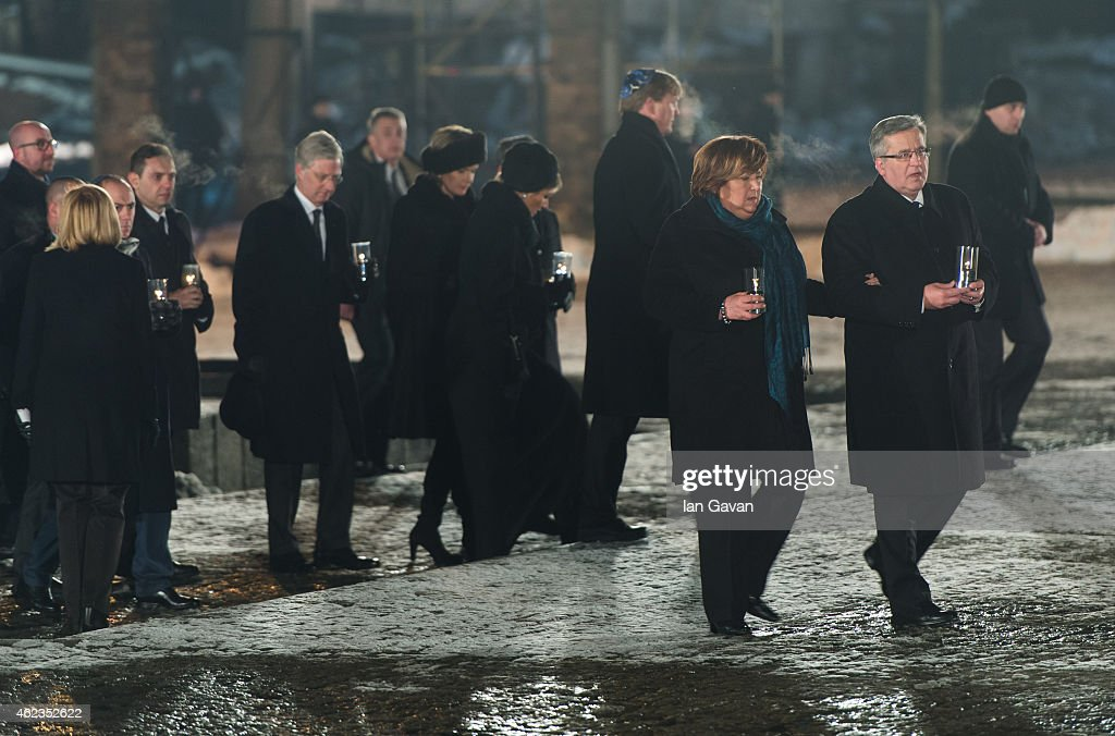 Polish President <a gi-track='captionPersonalityLinkClicked' href=/galleries/search?phrase=Bronislaw+Komorowski&family=editorial&specificpeople=836872 ng-click='$event.stopPropagation()'>Bronislaw Komorowski</a> together with Auschwitz survivors and families visit the Birkenau Memorial on January 27, 2015 in Oswiecim, Poland. International heads of state, dignitaries and over 300 Auschwitz survivors are attending the commemorations for the 70th anniversary of the liberation of Auschwitz by Soviet troops on 27th January, 1945. Auschwitz was among the most notorious of the concentration camps run by the Nazis during WWII and whilst it is impossible to put an exact figure on the death toll it is alleged that over a million people lost their lives in the camp, the majority of whom were Jewish.