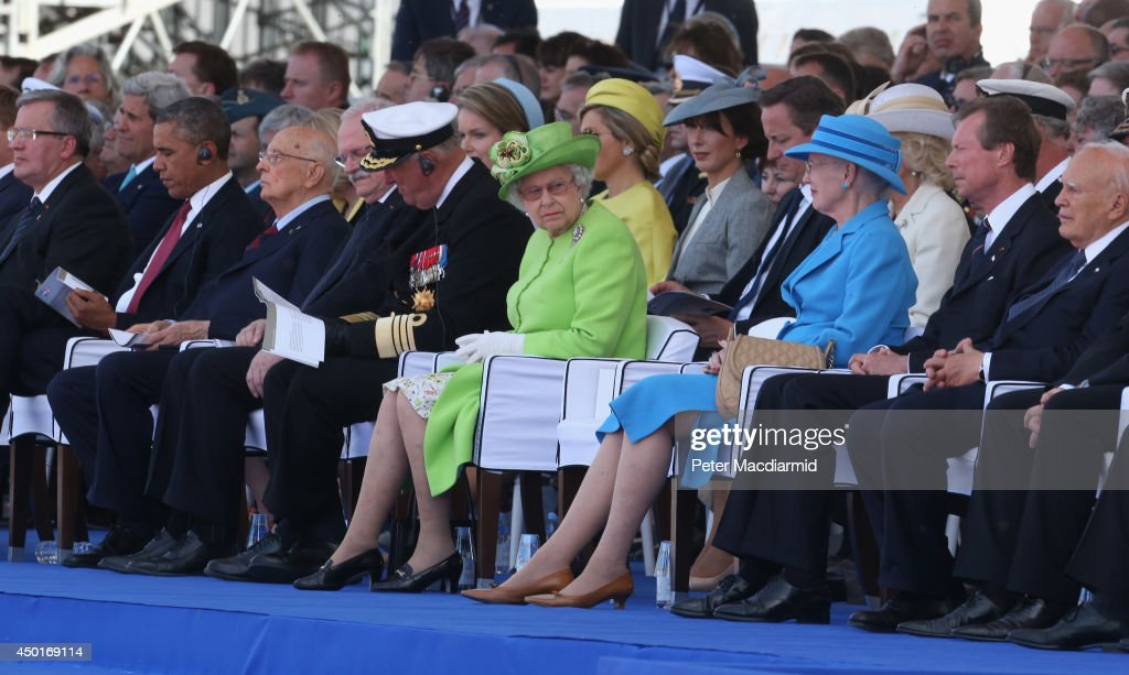 Polish President Bronislaw Komorowski, U.S. President Barack Obama, Italian President Giorgio Napolitano, President of Slovakia Ivan Gasparovic, King Harald V of Norway , Queen Elizabeth II, Queen Margrethe II of Denmark, Grand Duke Henri of Luxembourg and President of Greece Karolos Papoulias attend the International Ceremony at Sword Beach to commemorate the 70th anniversary of the D-Day Invasion on June 6, 2014 in Ouistreham, France. Friday 6th June is the 70th anniversary of the D-Day landings which saw 156,000 troops from the allied countries including the United Kingdom and the United States join forces to launch an audacious attack on the beaches of Normandy, these assaults are credited with the eventual defeat of Nazi Germany. A series of events commemorating the 70th anniversary are planned for the week with many heads of state travelling to the famous beaches to pay their respects to those who lost their lives.