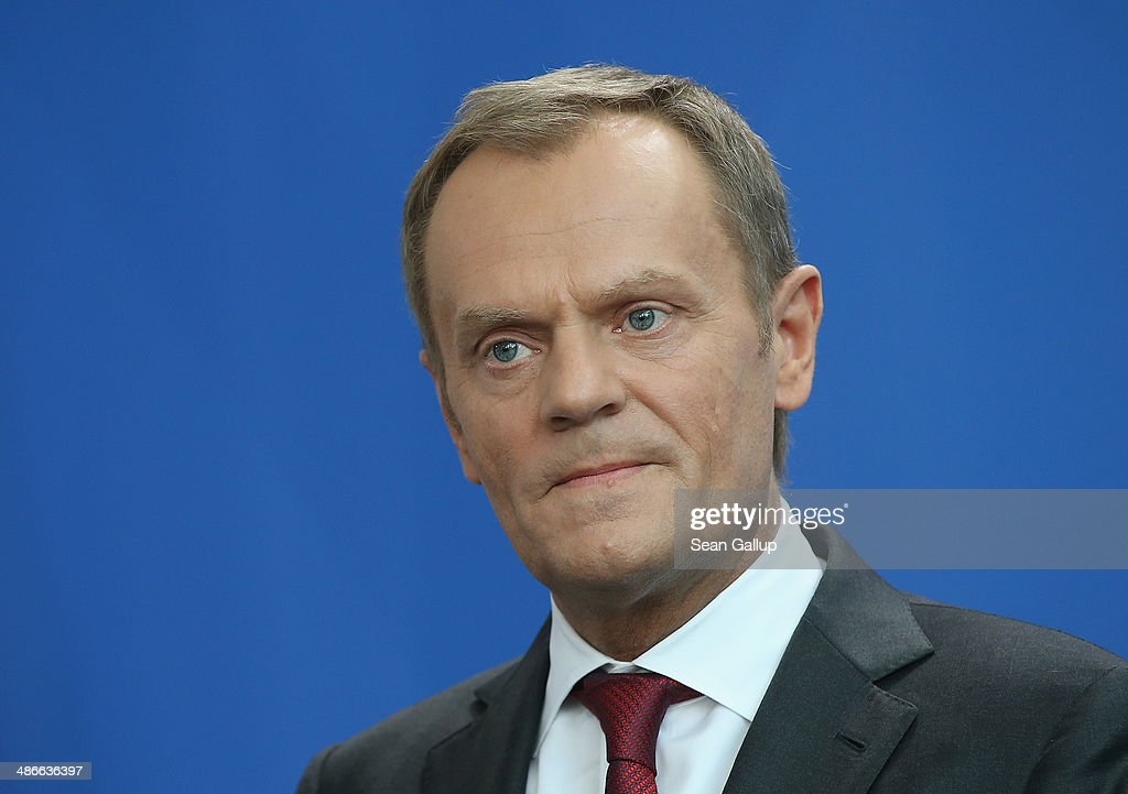 Polish President <a gi-track='captionPersonalityLinkClicked' href=/galleries/search?phrase=Donald+Tusk&family=editorial&specificpeople=870281 ng-click='$event.stopPropagation()'>Donald Tusk</a> and German Chancellor Angela Merkel(not pictured) give statements to the media upon Tusk's arrival at the Chancellery on April 25, 2014 in Berlin, Germany. Tusk and Merkel are meeting to discuss the situation in eastern Ukraine as diplomats scramble to ease tensions between Ukraine and Russia.