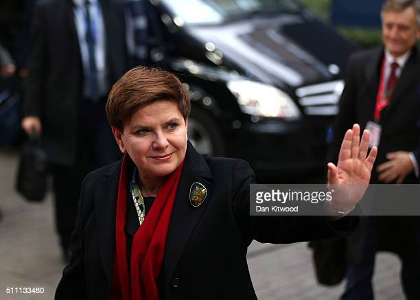 Polish Prime Minister Beata Szydlo arrives at the Council of the European Union on February 18 2016 in Brussels Belgium Most of Europe's 28 member...