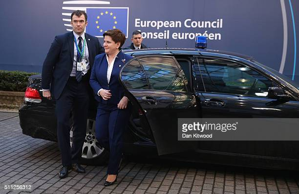 Polish Prime Minister Beata Szydlo arrives during the second day of the EU Summit as British Prime Minister David Cameron continues his attempts to...