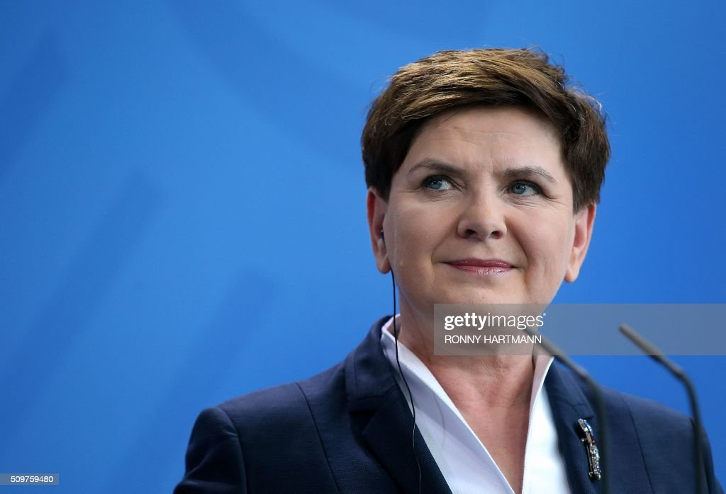 Polish Prime Minister Beata Szydlo attends a press statement at the Chancellery in Berlin on February 12, 2016. / AFP / Ronny Hartmann