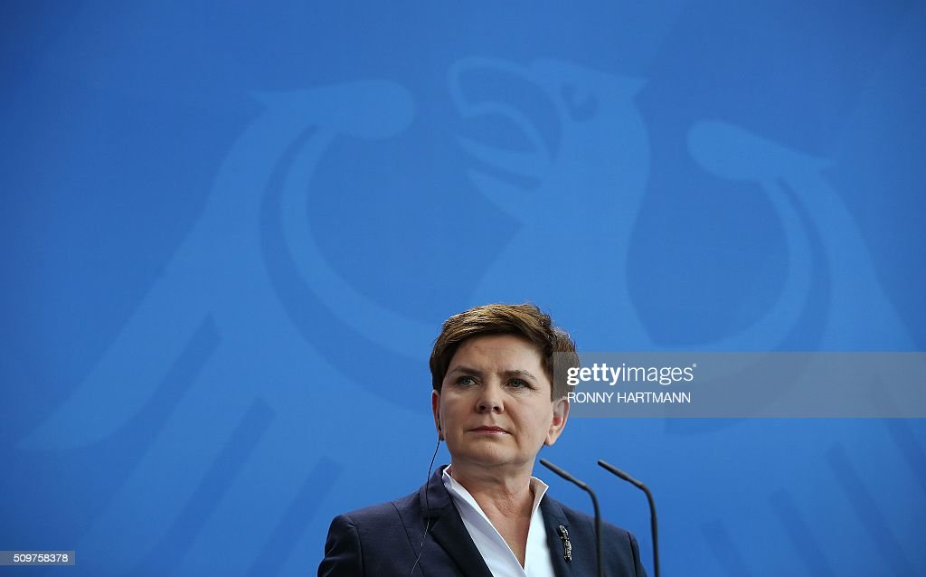 Polish Prime Minister Beata Szydlo attends a press statement with German Chancellor at the Chancellery in Berlin on February 12, 2016. / AFP / Ronny Hartmann